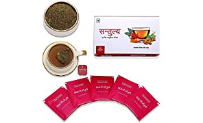 Santulya Certified Organic Herbal Infusion Tea (25 Unbleached Tea Bags) Made with Organic Tulsi, Moringa, Turmeric, Hibiscus & Ginger, for Everyday Balanced Life, Detox, Immunity & Energy