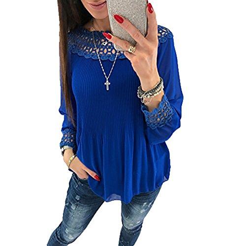 Juleya Manche Longue Blouse Femme - Élégant Dentelle Loose Mousseline de Soie Blouse Plissé Mode Printemps Automne Casual Chemise Pull Top de Plus la Taille S-XL Bleu
