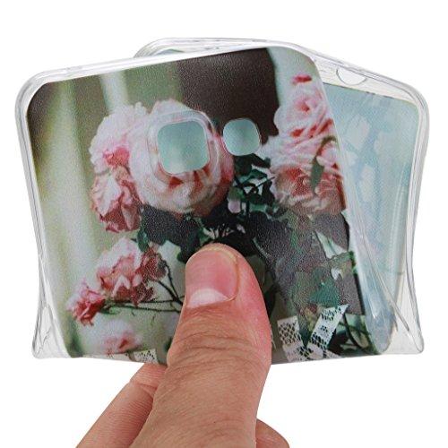 Qimmortal(TM) Custodia protettiva ultra sottile in silicone TPU morbido e flessibile di alta qualità, per Huawei P9, protezione per lo schermo in vetro temperato, con design stampato alla moda, silico Rose