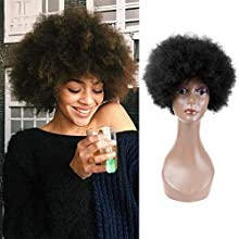 """Queentas 8"""" #1B Short Afro Kinky Curly Human Hair Wigs with a Free Hairnet for Women (Fluffy Curls)"""
