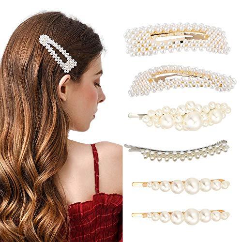 6 Stücke Künstliche Perlen Haarspangen für Frauen Mädchen, Mode Eleganz Haar Snap Clips Perle Haarnadeln Barrettes Haarspangen Für Hochzeit und Mädchen...