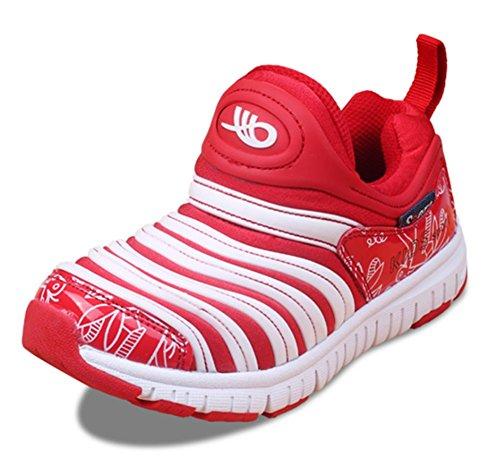 Wealsex Chaussures de Sport Mesh Cuir Chaussures Marche Bébé Baskets Basses Course Fitness Multisport Extérieurs Garçon Fille Mixed Enfant Rouge