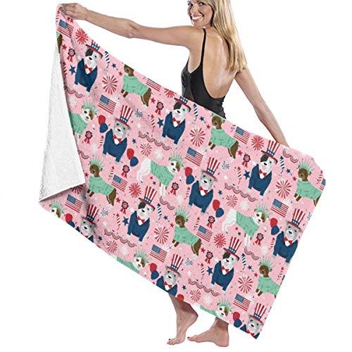 Kaixin J Pitbull Patriotic Pink Dog Breed Grey Microfiber Pool Beach Towel Quick Dry Beach Towel for Adult 32 X 52 Inch