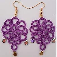 Orecchini chandelier a chiacchierino leggerissimi color lilla con pendenti cangianti.