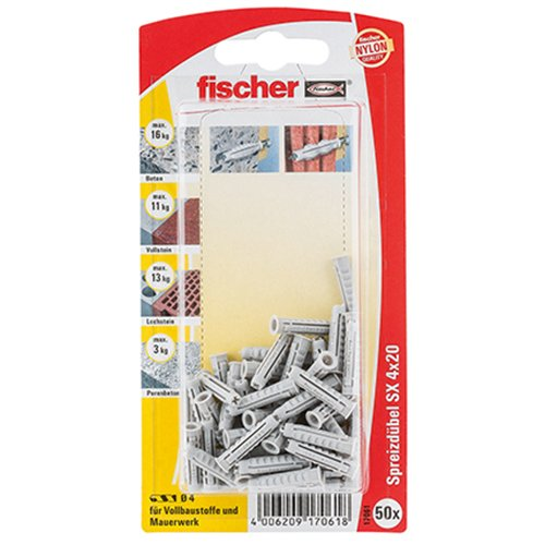 Fischer 17061 Lot de 50 Chevilles SX 4 x 20 mm K