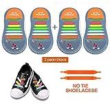 No Tie Lacets Lacets Elastiques Imperméables pour Enfants et Adultes No Tie Lacets Etanche Silicone pour Chaussure Sport Loisir Shoes Sneaker Conseil Bottes et Souliers(2 set)