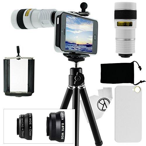 CamKix Kamera-Objektiv-Set Kompatibel mit Apple iPhone 5 / 5S mit einem 8x Teleobjektiv