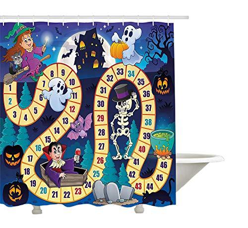 Yeuss Brettspiel Duschvorhang von, Halloween Theme Symbole glücklich Hexe Mädchen Vampir Geist Kürbisse glücklich Comic, Stoff Badezimmer Dekor Set mit Haken, Multicolor 72 'x 80'