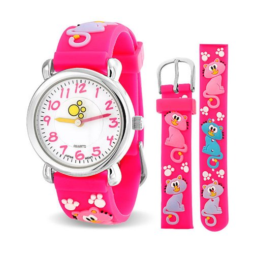 Pink Kitty Cat Paw Prints Girls Watch Stainless Steel Back (Bling Kitty)