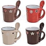 matches21 Espressotassen mit Löffel Keramik Herz Dekor beige / rot / hellbraun / dunkelbraun 4er Set 6 cm / 50 ml