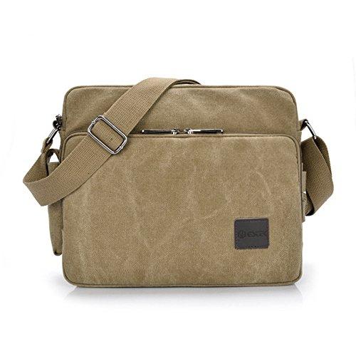 Messenger Bag, GSTEK Unisex Vintage Canvas Messenger Bags Casual Spalla Dell'imbracatura Pacchetto Daypack Bauletto per Lavoro, a Scuola, Uso Quotidiano - 30cm (L) x 10cm (W) x 26cm (H), 26 Tasche - Cachi