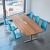 Weber Büro EASY Konferenztisch Bootsform 240x120 cm Nussbaum mit Elektrifizierung Besprechungstisch Tisch, Gestellfarbe:Silber
