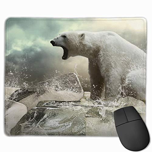 Customized Design Rectangle Non-Slip Rubber Gaming Mousepad (Cool Polar Bear On Ice, 11.81 X 9.84 Inch) (On Ice Halloween)