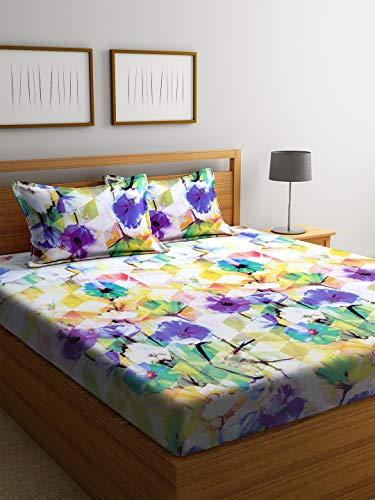 Bombay Dyeing Sprcal 134 TC King Size Double Bed Sheet with 2 Pillow Cover
