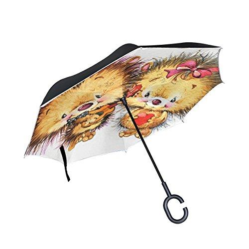 MyDaily Double Layer seitenverkehrt Regenschirm Cars Rückseite Regenschirm Niedlichen Igel Rot Herz Winddicht UV Proof Reisen Outdoor Regenschirm