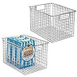 mDesign Juego de 2 cestas de metal multiusos fabricadas con alambre metálico – Organizador de cocina y despensa versátil – Cesta organizadora compacta y universal con asas – plateado