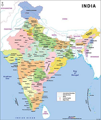 """Maps Of India Large Colour India Map (36""""W X 42.6"""" H) -2019 Series"""