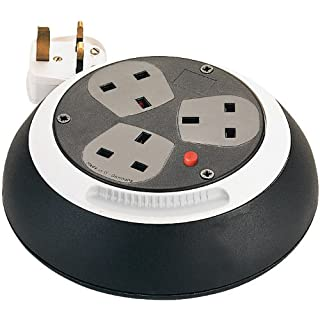 Brennenstuhl Comfort Line 3-way socket cable box (3m extension cable, ergonomic rewind), small cable reel box with desk sockets, cable colour: black