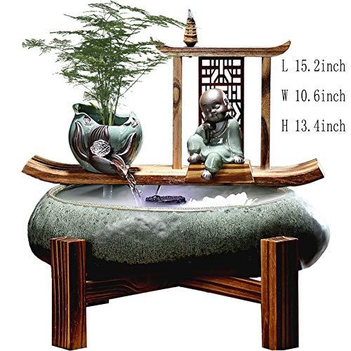 Statues Fontaine de l'hydropanorama,Décoration d'intérieur fengshui Ornements en céramique Fontaine de Table Zen Fontaine de Bouddha Assis Mobilier de Maison de séjour-Fontaine de Bureau 15.2pouc