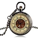 Klassische Taschenuhr, automatische mechanische Taschenuhr für Herren, Bronze, offenes Zifferblatt, römische Ziffern, Taschenuhr, Geschenk zu Weihnachten