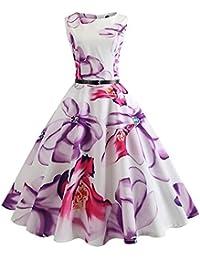 iBaste Womens Slim Fit Retro Round Neck Sleeveless Dresses 1950S Vintage Cocktail Party Evening Swing Dress