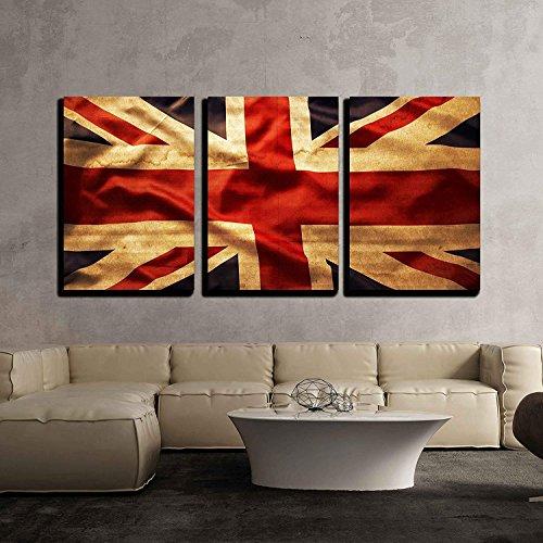 Union Jack Leinwand (TANGGOOD 3 Stück Leinwand Wandkunst - Closeup Grunge Union Jack Flagge - Moderne Inneneinrichtungen gestreckt und gerahmt fertig zum Aufhängen - 20
