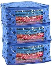 PrettyKrafts Saree Cover Set of 3 Prints Big Size/Wardrobe Organiser/Cloth Cover