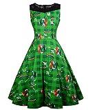 Damen Grün Kleeblatt Swing Kleider für St Buchse Patricks'Tag Fancy Dress St Patrick's Day Kostüm Kleid
