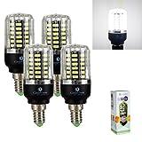 GreenSun LED 4 stück E14 5W 56*5736SMD LED lampe Leuchtmittel Birne Mais Glühbirne Glühlampe Strahler Energiesparlampe Licht Beleuchtung Bulbs 85-265V 480Lumen Kaltweiß(6000-6500K)