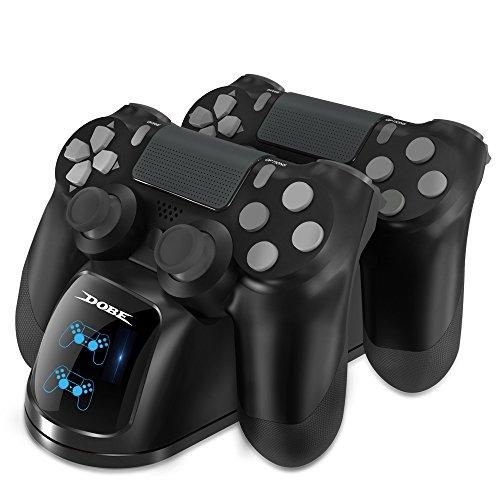 DOBE Cargador Mando para PS4, Estación de carga DualShock 4, Cargador USB con Soporte Indicador del LED para Playstation 4, PlayStation 4 Slim and PlayStation 4 Pro Gamepad