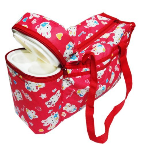 Guru kripa Baby Products™Presents New Born Baby Multipurpose Mother Bag Cum Portable Thermal Warmer Cyan With Holder Dipper Changing Multi Compartment For Baby Care And Maternity Handbag Messenger Bag Diaper Nappy Mama Shoulder Bag Diaper With Warmer Bag With 2 Bottle Holders Keep Baby Bottles Warm With 2 For Baby Multipurpose Waterproof Mother Bag Diaper Bag (Red)  available at amazon for Rs.649