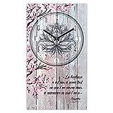 Les Trésors De Lily [Q5120 - Horloge Murale 'Boho' Bordeaux (Le Bonheur n'est Pas d'avoir Tout ce Que l'on désire mais d'apprécier ce Que l'on a - Bouddha) - 49x28 cm