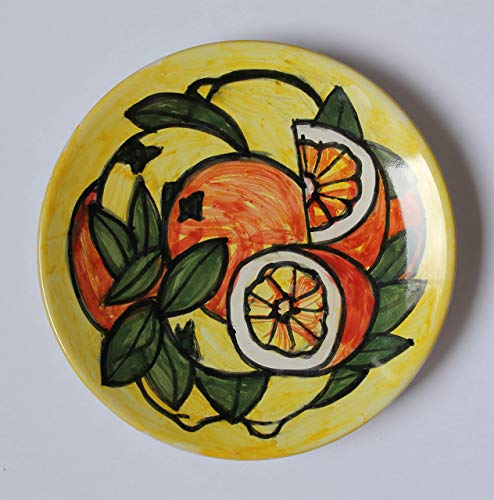 Orangen und Zitronen-Keramikteller Hand dekoriert, Durchmesser cm 16,4,hoch cm 2,8,bereit, an der Wand zu hängen Hergestellt in Italien, in der Toskana, in Lucca Erstellt von Davide Pacini. -