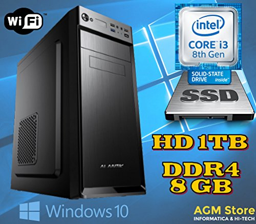 PC DESKTOP FISSO INTEL i3 8100 coffee lake/8° GENERAZIONE/RAM DDR4 8GB/SSD 240GB e HARD DISK 1TB/SK VIDEO Intel UHD 630 /WI FI 300/LICENZA WINDOWS