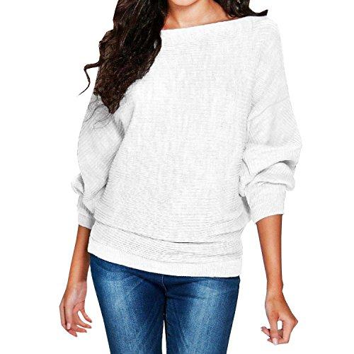 SUNNOW Damen Herbst/Winter O-Ansatz succumb Fledermaus Drop Ärmels Lose Stricken Pullover Knit Sweater (L, Weiß)