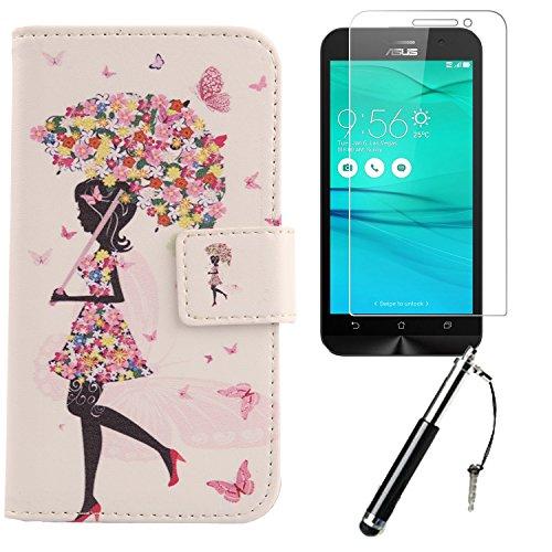 Lankashi 3in1 Set Umbrella Girl PU Flip Leder Tasche Für Asus ZENFONE GO ZB500KG / ZB500KL 5