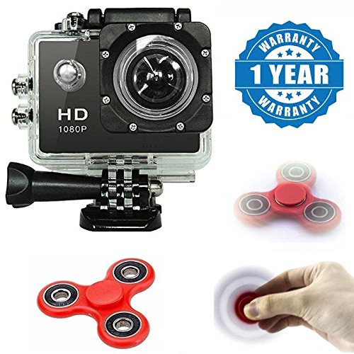 Captcha Action Camera 1080p Camera 2-inch Lcd 140 Degree Wide Angle Lens Waterproof With Fidget Spinner (1 Year Warranty)