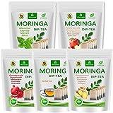 Té de Moringa 100% natural y vegano (opcionalmente Moringa-mezcla de hojas, manzana-canela, granada, jengibre, menta). 1A calidad (100 bolsitas de té, 20 bolsas por gusto)