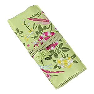 Jewelry roll, Travel Jewelry roll bag, in broccato di seta ricamo organizer custodia con testa stretta Light Green Flower