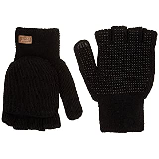 KINCO 5110-L Men's Alyeska Rag Gloves, Wool Lined Half Finger with PVC Dots, Large, Black by KINCO INTERNATIONAL