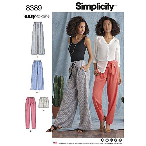 Simplicity Muster 8389Damen Hose mit Länge und Breite Variationen und Gürtel, Papier, weiß, 22x 15x 1cm