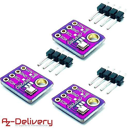 AZDelivery ⭐⭐⭐⭐⭐ 3 x GY-BME280 Barometrischer Sensor für Temperatur, Luftfeuchtigkeit und Luftdruck mit Gratis eBook