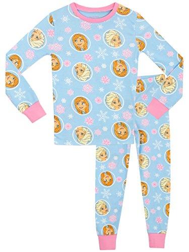 Disney frozen - il regno di ghiaccio - pigiama a maniche lunghe per ragazze - frozen - vestibilitta stretta - 6 - 7 anni