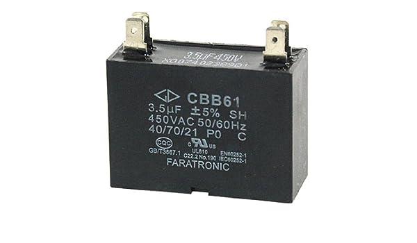 DealMux 3.5MFD 3.5uf 450VAC 50 / 60Hz 4 Klemme Fan Kondensator CBB61 ...
