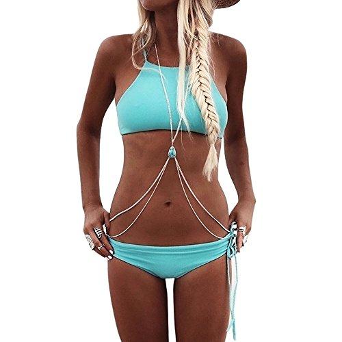 Shop - Körperkette Damen Hippie Chic für Strand Frühling Sommer Schmuck Blau Kette Silber