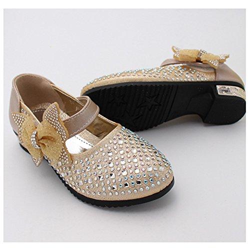 Free Fisher Chaussures à Talon Princesse Fille Enfant Ballerine Nœud Papillon Paillettes Bal Cérémonie Mariage Or