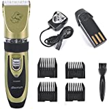 Reelva Rechargeable Cordless Pet Grooming Clippers - Professional Pet Hair Clippers Detachable Blade with 4 Comb Guides for Small Medium & Large Dogs