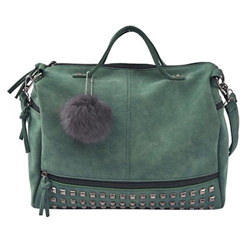 Große Satchel Tote (Moonuy,Damen-Niet-Handtasche, große Tote-Satchel-Umhängetasche Innenschlitz-Taschen-Reise-Beutel-vielseitige beiläufige Tote-weiche Griff-Niet-Handtasche (Grün))