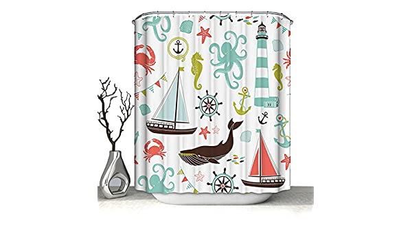 Polyester Waterproof Shower Curtain Heavy Duty Washable with Hooks for Bathroom Decorations Cartoon Sailboat,180x180cm 70.9x70.9inch Astory 3D Shower Curtain with Digital Printing
