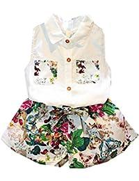 Covermason Niña Sin mangas Blusa Camiseta y Floral Pantalones(1 Conjunto)